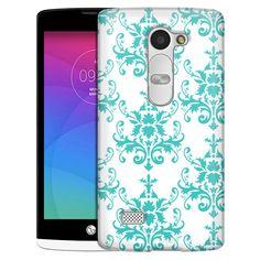 LG Leon Damasks Pattern Turquoise on White Slim Case