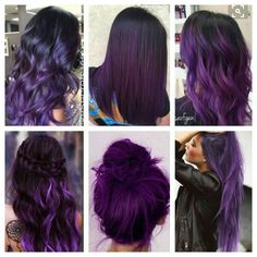 Neues Haar hebt lila hervor, ich will Ideen New hair highlights purple, I want ideas Dark Purple Hair, Hair Color Purple, Hair Color And Cut, Purple Hair Highlights, Purple Hues, Violet Hair Colors, Purple Balayage, Cute Hair Colors, Hair Dye Colors