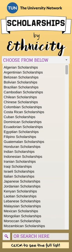 Search for scholarships based on your ethnicity!