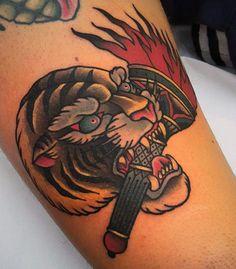 75 Traditional Tiger Tattoo Designs For Men - Striped Ink Ideas Wolf Tattoo Traditional, Tiger Tattoo Design, Tattoo Designs Men, Ink, Tattoos, Style, Ideas, Irezumi, Tattoo