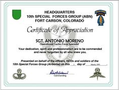 military certificate of appreciation template free