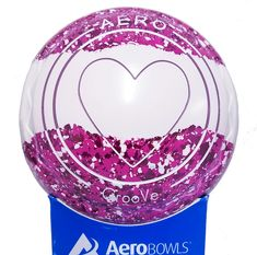 Aero GrooVe lawn bowl with new custom colors: Candy/White/Candy. Heart logo in two colors.