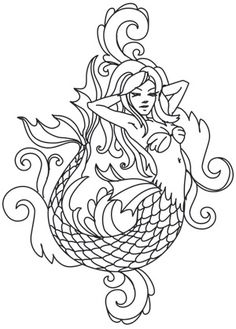 A darkly beautiful mermaid puts a unique twist on classic toile styling. Stitch one alone, or stagger and repeat! Downloads as a PDF. Use pattern transfer paper to trace design for hand-stitching. #UrbanThreads