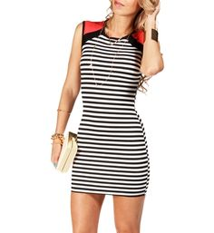 Black/White/Coral Ponte Stripe Short Dress. Vegas!
