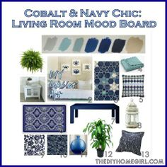 navy and turquoise dining room | Cobalt and Navy Chic Living Room Mood Board colors palette scheme ...