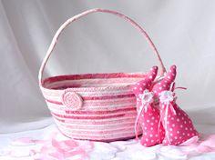 Pink Easter Basket, Gorgeous Batik Flower Girl Basket, Handmade Pink Batik Basket, Fuchsia Fiber Basket, Pink Easter Bucket by WexfordTreasures on Etsy