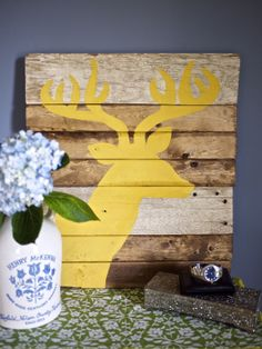 Stag Silhouette Wall Art Tutorial from Kiwi and Peach