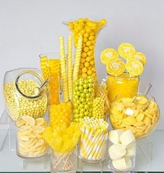 Need a candy buffet to spice up your wedding or holiday party but don't know where to start? Use Candy Warehouse's buffet builder to make your candy bar a hit! Pink Candy Buffet, Candy Table, Lolly Buffet, Candy Buffet Tables, Yellow Candy, Gold Candy, Yellow Theme, Colorful Candy, Bar A Bonbon