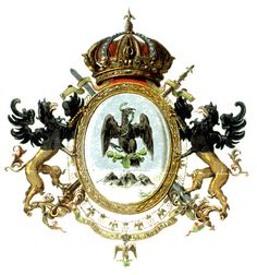 Second Mexican Empire's Coat of Arms - Category:Coats of arms of the Second Mexican Empire - Wikimedia Commons Military Decorations, Western Caribbean, North And South America, Mesoamerican, Kaiser, Chicano, Coat Of Arms, Art And Architecture, Two By Two