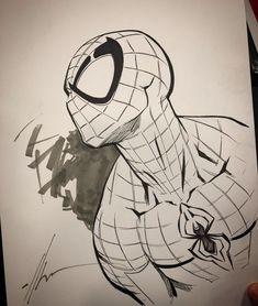 Spider-Man by Ale Garza Comic Art Spiderman Sketches, Spiderman Drawing, Marvel Drawings, Spiderman Art, Cool Art Drawings, Art Drawings Sketches, Comic Book Drawing, Marvel Comics Art, Comic Art