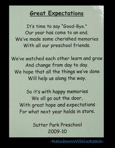 photo of: Poem for end of School, Preschool rhyme for goodbye