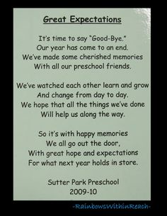photo of: Poem for end of School, Preschool rhyme for goodbye