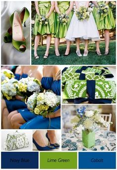 """Lime Green and Blue Wedding theme .. except my girls would wear """"cobalt"""""""