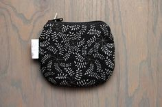 Cute Black Floral Coin Purse Small Zipper Pouch Black by SeaPinks