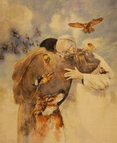 A beautiful image! Shows how St. Francis' teachings have inspired our Holy Father to renew our Church through love, faith and humility.