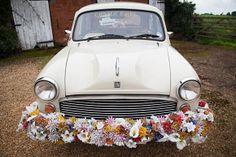 Love this little wedding car. 1950s Farm Wedding, polka dot bridesmaids dresses