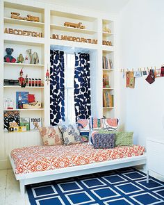 Blue and Orange bedroom with pattern. (Ipinned this for the bed style-Michele)