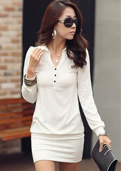 Full-sleeve Turn-down Collar Form-fitting Short Dress White - BuyTrends.com
