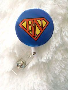 Superman Nurse Super RN - Belt Slide Clip or Swivel Spring Clip - Nurse Badge Holder - Nurse Badge Reel - Retractable Badge Reel on Etsy, $7.50