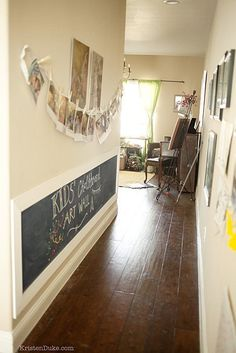 Hallway turned kids chalkboard drawing space - love it! Decorating Small Spaces: 7 Bold Design Elements to Try in Your Hallways — From the Archives: Greatest Hits Decor, House Design, Hallway Decorating, Small Spaces, Interior, Kid Friendly Living Room, Home, Decorating Small Spaces, Decor Inspiration