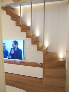 Modern Staircase Design Ideas - Stairways are so usual that you do not provide a reservation. Have a look at best 10 examples of modern staircase that are as magnificent as they are . Home Stairs Design, Home Interior Design, House Design, Stairs In Living Room, House Stairs, Attic Bedroom Designs, Concrete Stairs, Concrete Stone, Modern Staircase