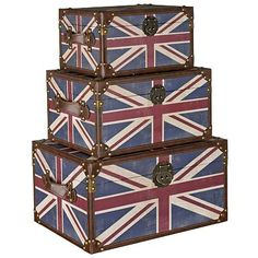 The Union Jack Trunk set features 3 storage boxed or trunks £99
