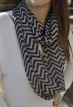 Black and Taupe zig zag scarf! so classy.  www.facebook.com/townhouseboutiqueauctions