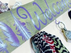 Lavender feathers recycled pallet wood welcome by ThePovertyBarn