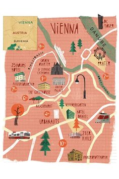 Map of Vienna, Austria. I lived right next to the Naschmarkt! Map of Vienna, Austria. I lived right next to the Naschmarkt! Bratislava, Travel Maps, Travel Posters, Places To Travel, Austria Travel, Austria Map, Map Design, City Maps, Trip Planning