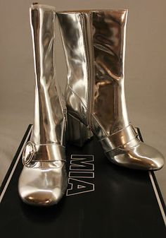 MIA Psychedelic women's boots in Silver Faux Patent, size 7 1/2 M, for that retro 60's look!