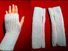 knit fingerless gloves - YouTube