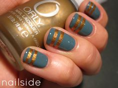Nailside: Solid Gold Stripes -- I love so much of the nail art from this blog. Gorgeous.