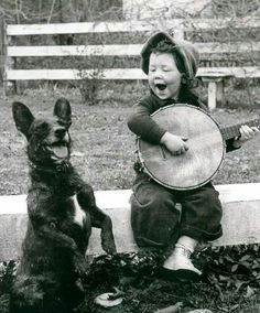 Great old photo ♡♡♡ Boy with his dog and a banjo