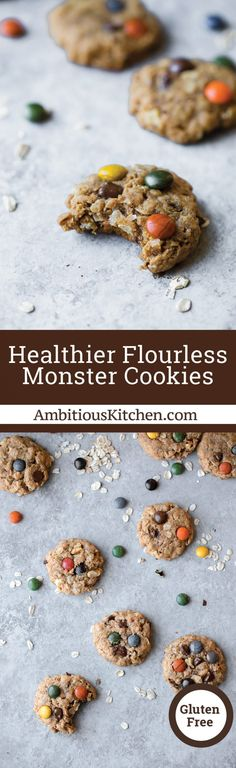 This Healthy Flourless Monster Cookie recipe is wholesome take on a childhood classic! Packed with peanut butter flavor, chocolate chips, coconut, chocolate candy pieces and nuts.