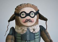 max the pilot painted art doll - soft sculpture. lola's design