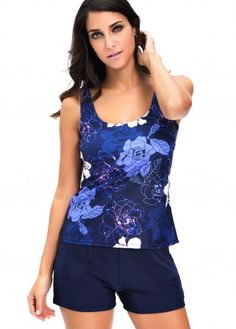 Open Back Navy Blue Printed Tankini Set on sale only US$27.23 now, buy cheap Open Back Navy Blue Printed Tankini Set at lulugal.com