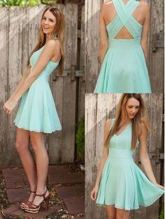 Popular Turqoise Fascinating A-line V-neck Mini Homecoming/Graduation Dress