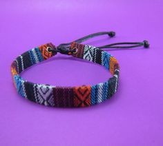 Variegated Hemp Handmade Friendship Bracelet Anklet Wristband Thai Hmong Woven Fabric Multicolor by LuxuryFay on Etsy