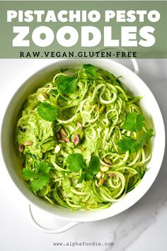 Zoodles 'zucchini noodles' ( also known as 'Courgetti' ) with delicious home-made pistachio pesto is a quick, simple and delicious lunch or dinner. Vegetarian Snacks, Healthy Snacks, Courgetti Recipe, Zucchini Health Benefits, Cook Zucchini Noodles, Pesto Zoodles, Vegetable Crisps, Pistachio Pesto, Pasta Alternative