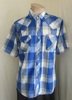 ELY PLAINS Men's VINTAGE Blue White Western Cowboy Pearl Snap Shirt 16 34 #ElyPlains