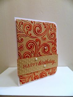 handmade Happy Birthday Card  by palbertson ... kraft with red ... great use of inked ebossing folder technique ...