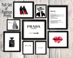Fashion set prints, Coco Chanel perfume print, kate moss wall art, eyelashes poster, prada sign, heels print, make up wall art,vogue cover by S4StarSbySiSSy on Etsy https://www.etsy.com/ca/listing/385755602/fashion-set-prints-coco-chanel-perfume
