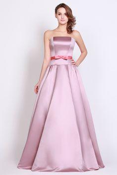 Lilac Satin Floor-Length Ball Gown Prom Dress