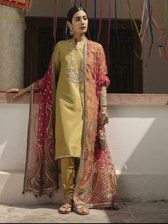 Dholki or mayun outfit for brides side Shadi Dresses, Pakistani Formal Dresses, Pakistani Wedding Outfits, Pakistani Dress Design, Indian Dresses, Indian Outfits, Party Wear Dresses, Casual Dresses, Eastern Dresses