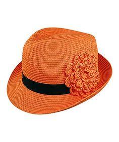 Orange Flower Fedora by Boardwalk Style  zulilyfinds 5c6eabf5a210