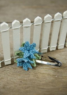 Handmade Crochet Hair Clip Light Blue Bluebell by joyoustreasures