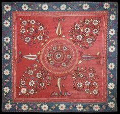Silk Embroidered Linen Panel, Kutch, Northern India, 19th century.