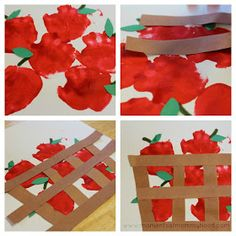 DIY handprint apple basket craft project for kids #Ciderella
