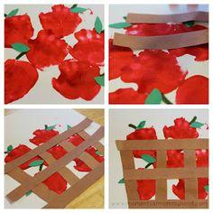 DIY handprint apple basket craft project for kids #Ciderella