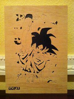 Dragon ball z goku cuadro de madera